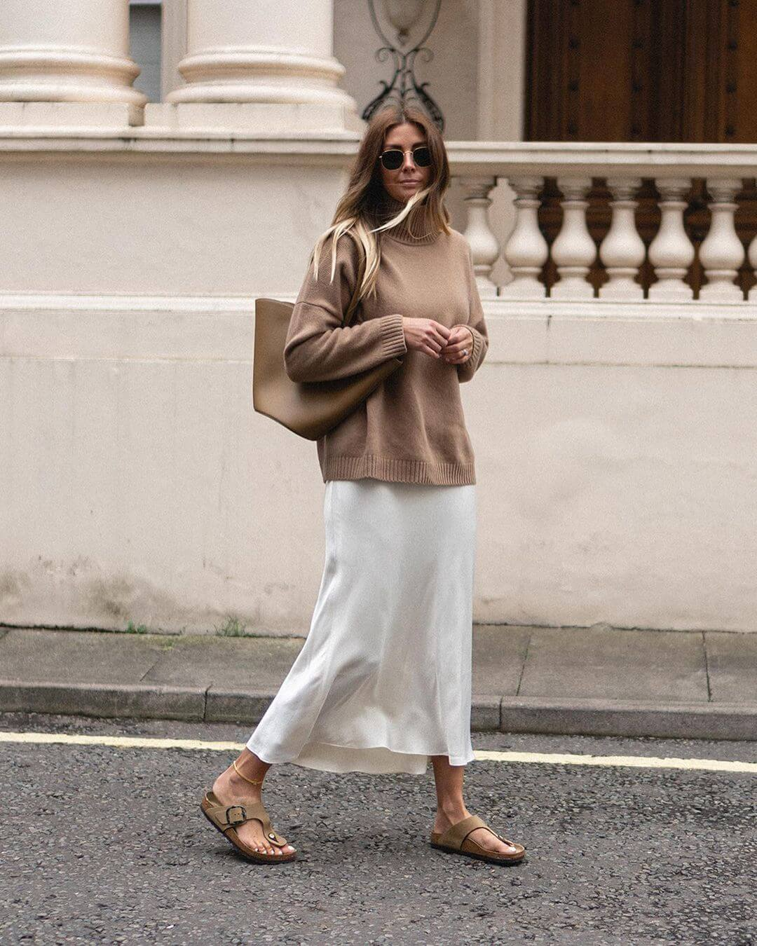 A Stylish Way To Wear A Satin Slip Skirt For Fall