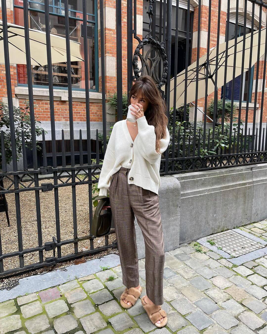 A Chic Way To Wear Faux Fur Slides