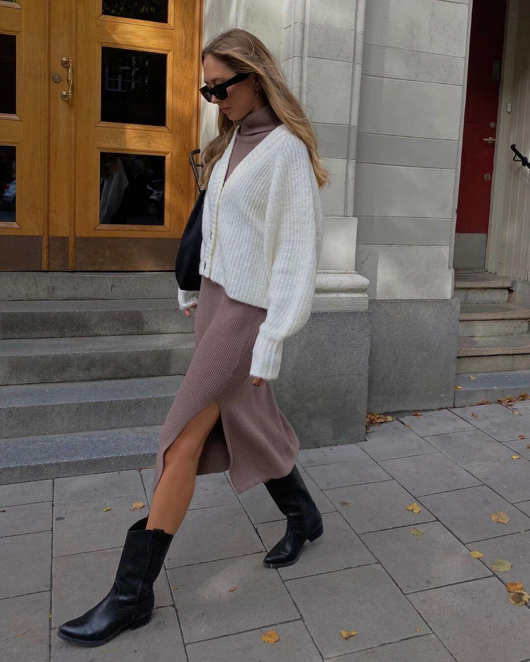 We're Obsessed With This Layered Knit Outfit